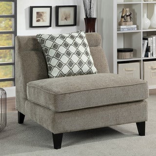 Furniture of America Luxden Contemporary Brown Linen-like Wide Slipper Chair