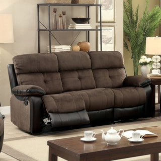 Furniture of America Ferg Contemporary Brown Fabric Reclining Sofa