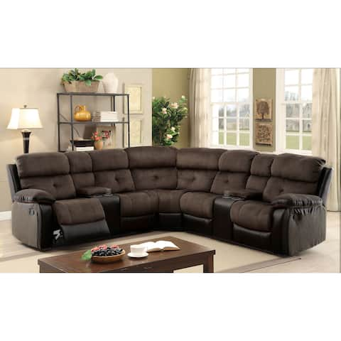 Fawnie Contemporary Brown 3-Piece Sectional by FOA