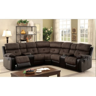 Furniture of America Fawnie Two-Tone L-Shaped Reclining Sectional with Consoles