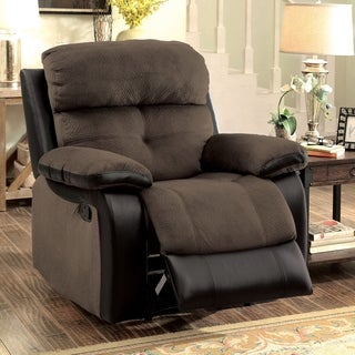 Furniture of America Fawnie Two-Tone Champion Fabric/Leatherette Recliner