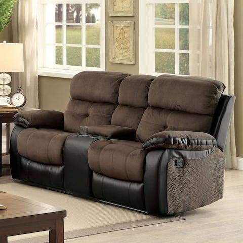 Furniture of America Ferg Contemporary Brown Fabric Reclining Loveseat