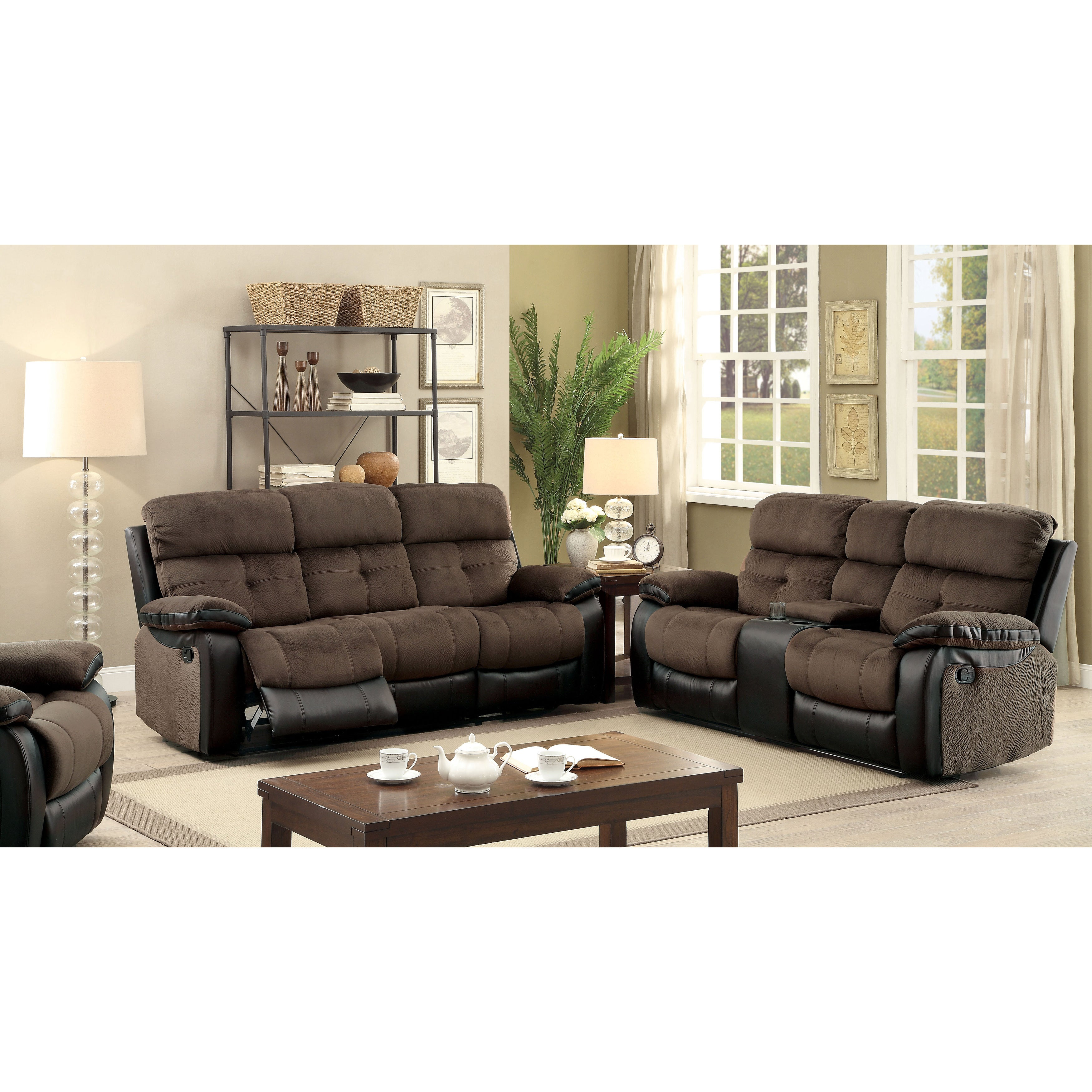 Fawnie Modern Brown and Espresso 3-Piece Reclining Sofa Set by FOA