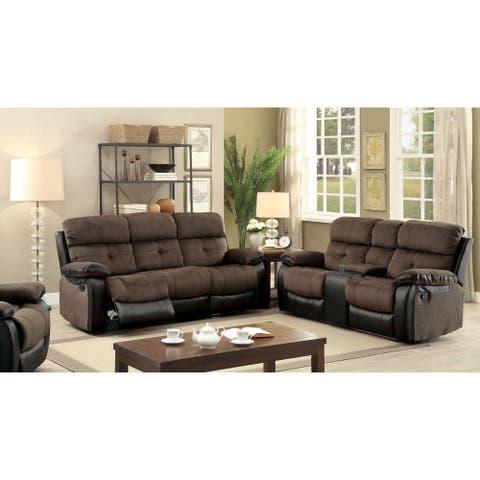 Furniture of America Ferg Modern Brown 3-piece Reclining Sofa Set