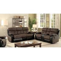 Furniture of America Fawnie 3-piece Two-Tone Champion Fabric/Leatherette Reclining Sofa Set
