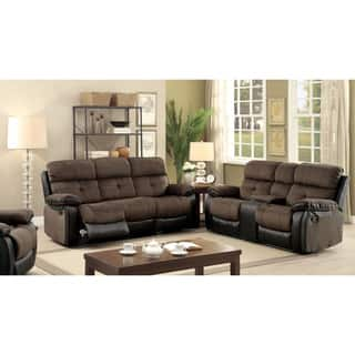 Furniture of America Fawnie 3 piece Two Tone Champion Fabric Leatherette  Reclining Sofa. Living Room Furniture Sets For Less   Overstock com