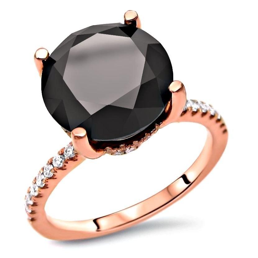 Shop 14k Rose Gold 3 1 4ct Tdw Round Black Diamond Engagement Ring On Sale Overstock 12636807