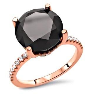 Noori 14k Rose Gold 3 1/4ct tdw Round Black Diamond Engagement Ring