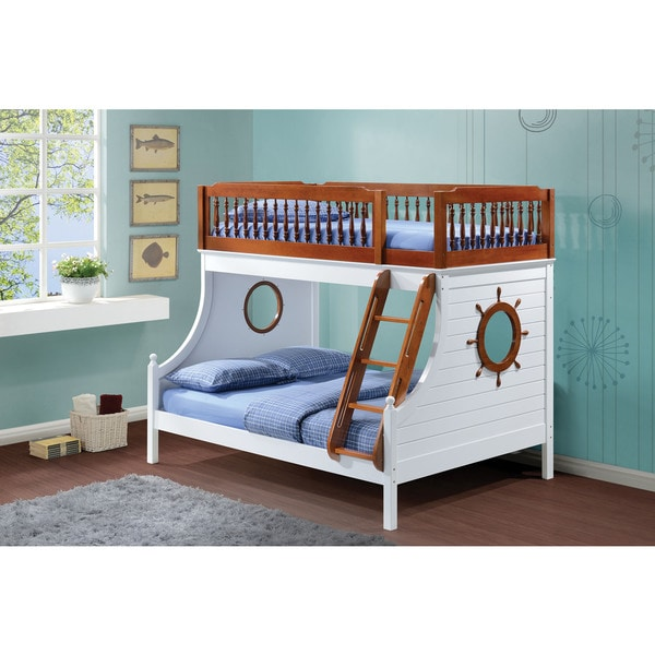 Farah Youth Twin over Full Sailor Bunk Bed, Oak & White