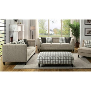 Furniture of America Luxden Contemporary 3-piece Tuxedo Style Brown Linen-like Sofa Set