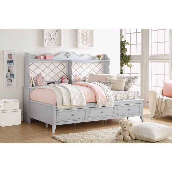 shop edalene princess storage daybed gray free shipping today overstock 12636813. Black Bedroom Furniture Sets. Home Design Ideas