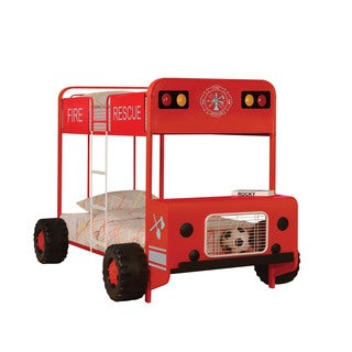 Jackson Fire Truck Theme Red andBlack Twin Over Twin Bunk Bed