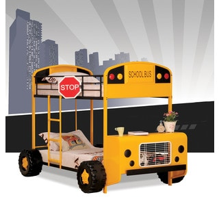 Cathie Twin over Twin Bunk Bed, Yellow & Black School Bus Theme