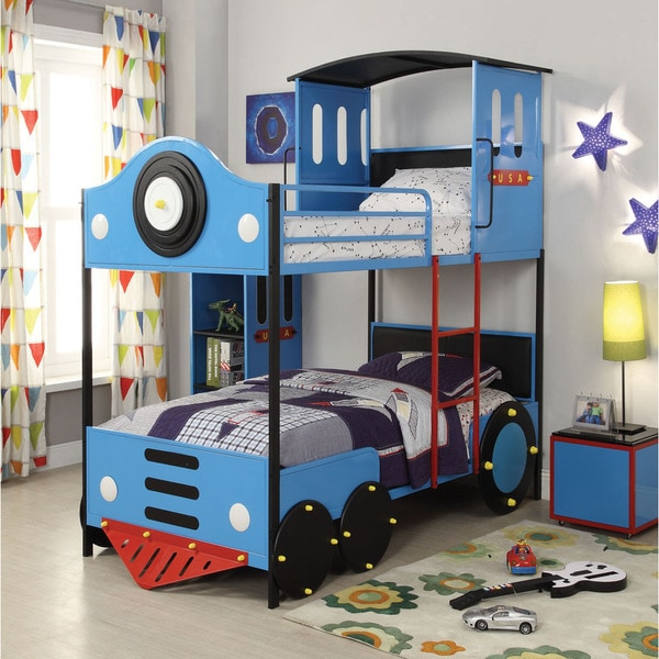 Shop Tobi Youth Twin Over Twin Bunk Bed Blue Amp Black