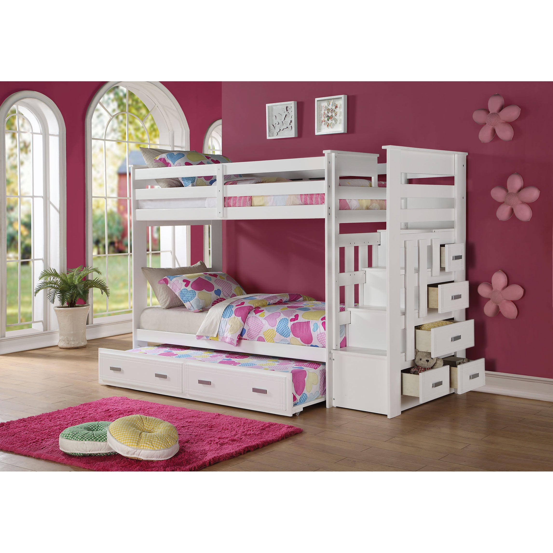 Allentown White Pinewood Twin Over Twin Bunk Bed With Storage Ladder And Trundle Overstock 12636819