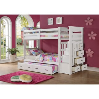 Allentown White Pinewood Twin-over-twin Bunk Bed With Storage Ladder and Trundle