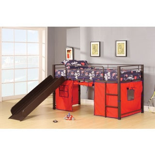 Willie Twin Loft Bed with Slide & Red Tent, Brown Coffee