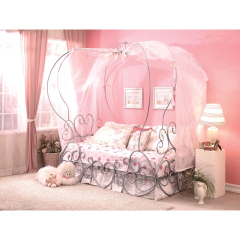 Priya Princess Pumpkin Canopy Bed, Silver