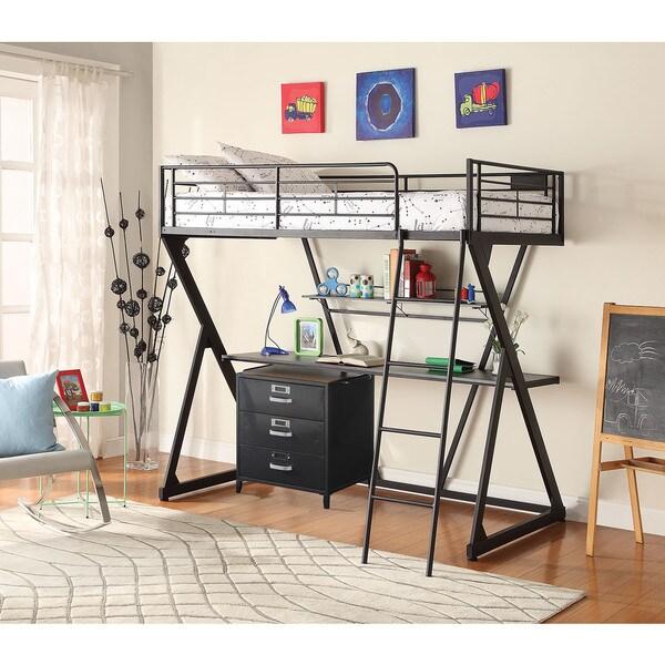 Zazie Twin Loft Bed, Sandy Black