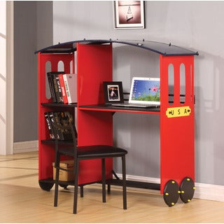 Tobi Red and Black Desk and Bookcase