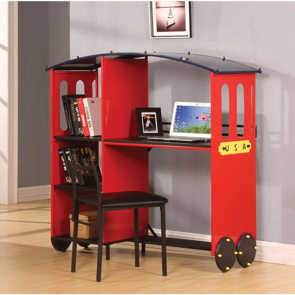 Shop Tobi Red And Black Desk And Bookcase Free Shipping