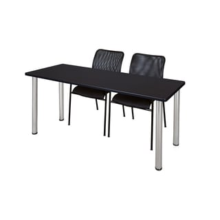 Kee Chrome 72-inch x 24-inch Training Table with 2 Black Mario Stack Chairs