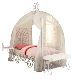 Priya II Youth Princess Canopy Bed, White & Light Purple