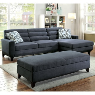 Furniture of America Brixon Contemporary Dark Grey Padded Fabric L-Shaped Sectional