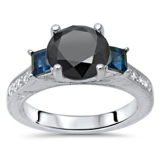 Noori 14k Gold 2 1/4 tdw Round Black Diamond Blue Sapphire Engagement Ring