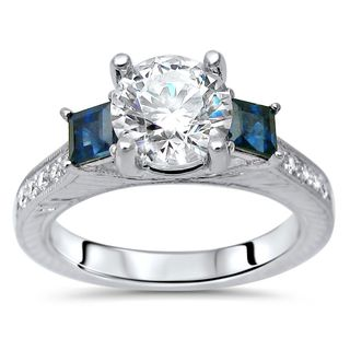 Noori 1 9/10ct TGW Round Moissanite Blue Sapphire 3 Stone Diamond Engagement Ring 14k White Gold