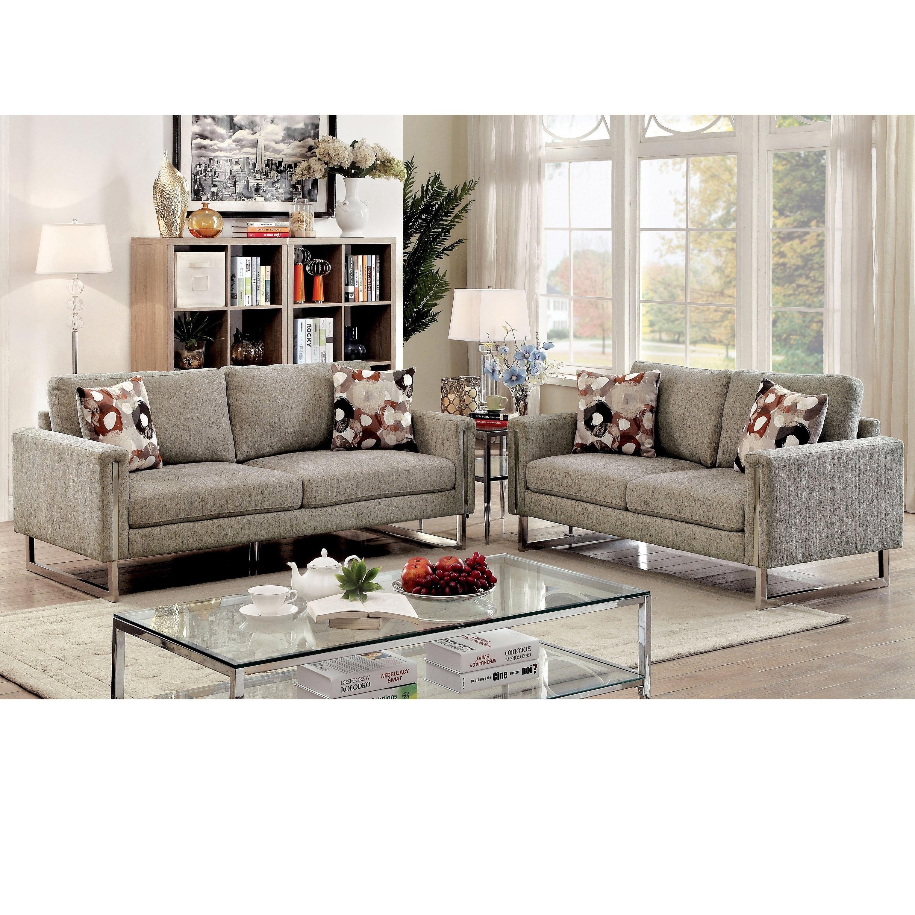 Furniture of America Madrid Contemporary 2-piece Pewter C...