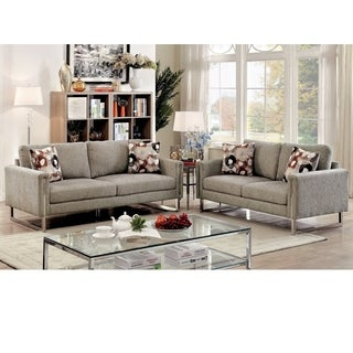 Furniture of America Madrid Contemporary 2-piece Pewter Chenille Upholstered Sofa Set