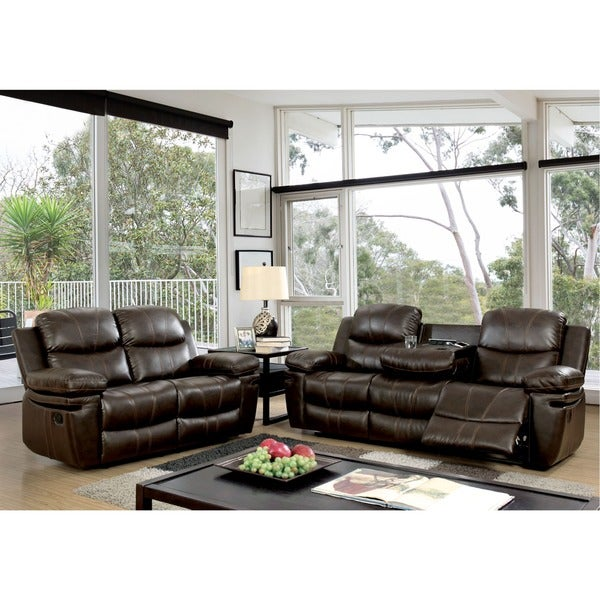 Furniture of America Ellister Transitional 2-Piece Brown Bonded Leather Match Reclining Sofa Set  sc 1 st  Overstock.com & Furniture of America Ellister Transitional 2-Piece Brown Bonded ... islam-shia.org