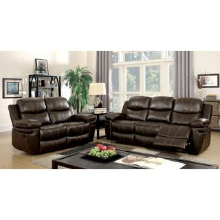 Furniture of America Ellister Transitional 2-Piece Brown Bonded Leather Match Reclining Sofa Set|https://ak1.ostkcdn.com/images/products/12636847/P19428339.jpg?impolicy=medium