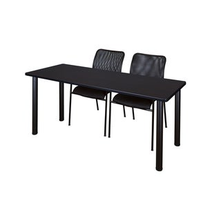Kee Black 72-inch x 24-inch Training Table with 2 Black Mario Stack Chairs