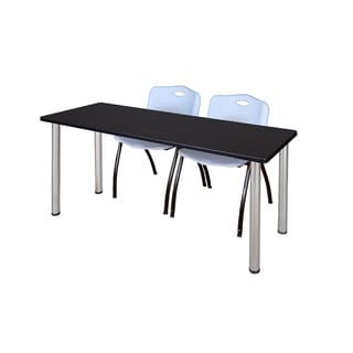 Kee Chrome 72-inch x 24-inch Training Table with 2 Grey 'M' Stack Chairs