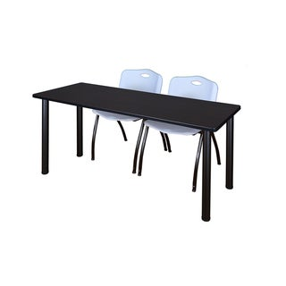 Kee Black 72-inch x 24-inch Training Table with 2 Grey 'M' Stack Chairs
