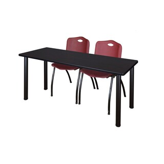 Kee Black 72-inch x 24-inch Training Table with 2 Burgundy 'M' Stack Chairs