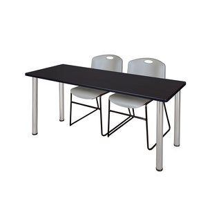 Kee Chrome 72-inch x 24-inch Training Table with 2 Grey Zeng Stack Chairs