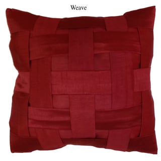 Artistic Linen Weave Red Polyester Decorative Throw Pillow