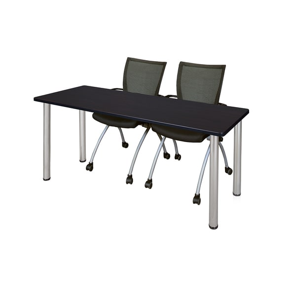 Kee Chrome 72-inch x 24-inch Training Table with 2 Black Apprentice Chairs