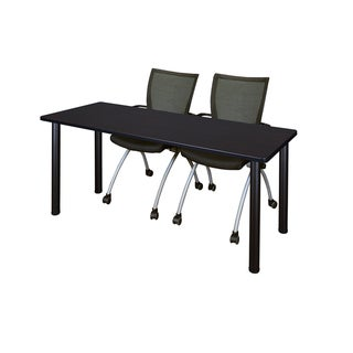 Kee Black 72-inch x 24-inch Training Table with 2 Black Apprentice Chairs
