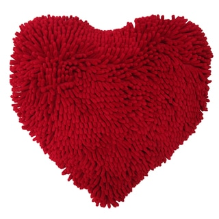 Artistic Linen My Heart Red Polyester and Cotton Shaggy Decorative Throw Pillow