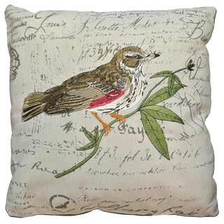 Artistic Linen 'Little Bird' Multicolored Polyester Embroidered Decorative Throw Pillow