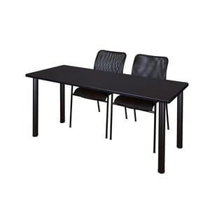Kee Black 66-inch x 24-inch Training Table with 2 Black Mario Stack Chairs