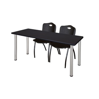 Kee Black 66-inch x 24-inch Training Table with 2 Black 'M' Stack Chairs