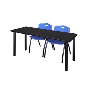 Kee Black 66-inch x 24-inch Training Table with 2 Blue 'M' Stack Chairs