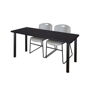 Kee Black 66-inch x 24-inch Training Table with 2 Grey Zeng Stack Chairs