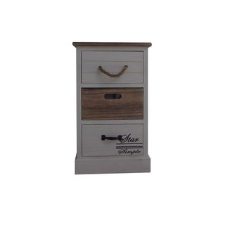 Benzara Urban Port Wood Three-drawer Cabinet