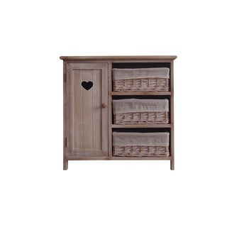 Benzara Urban Port Beige Antiqued Wood Cabinet